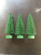 Flying Tiger Green Glitter Metal Christmas Tree Decor Set Of 3 Small