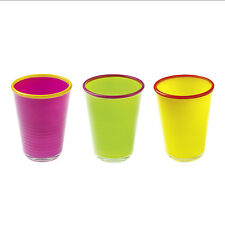 Set Of 3 Coloured Glass Tumbler Glass Drinking Picnic Juice Water Cups Contento