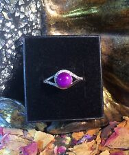 Exceptional elegant natural Sugilite cabochon sterling silver adjustable ring 🔮