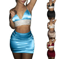 Women's Backless Crop Top 2pcs Set Bodycon Bandage Mini Dress Party Club Outfit