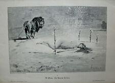 Erotika - Löwe umkreist eine Nackte - Zu Nero's Zeiten - Stich,Holzstich um 1892