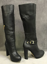 NEW VICTORIA'S SECRET BLACK LEATHER BUCKLE BOOTS SZ 8