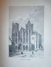 Gravure 19°Cathédrale de Bourges   Religion Catholique