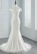 UK White Ivory Sequins Lace Off Shoulder Mermaid Simple Wedding Dress Size 6-18