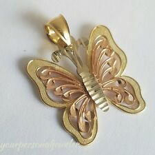 14k Yellow white rose Gold Butterfly Pendant Charm 1.10 inch long