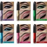 QIBEST Metallic Liquid Eyeshadow Glow Glitter Eyeliner Longlasting Eye Cosmetic