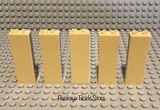 LEGO Part 2454 Tan Brick Wall 1x2x5 Lot of Five