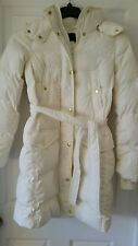 J. Crew Long belted down puffer coat $298 XS Ivory B5123 Down-filled Pockets