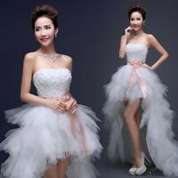Women Lace Diamante Long Before Short Black Tail Feather Bride Wedding Dress Hot