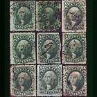 US #14, #31, #32, #35. 1851-1857. Shades, Ship Cancel, mixed cond. Scott $2,145.