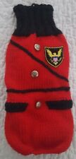 New listing Red Knit Dog Sweater with Silvertone Buttons and Eagle Patch