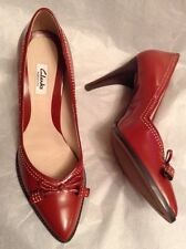 New🌹Clarks🌹Size 7.5 Deeta Bombay Orange Leather Pointy Stiletto Shoes 41.5EU