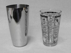 (2-Piece)  BOSTON SHAKER SET Printed Mixing Glass & Stainless Shaker Tin Bar Kit