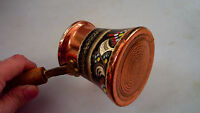 Handmade Copper Turkish Coffee Pot, Cezve,Silver and Blue Enamel Engraved