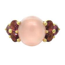 New Pomellato Luna 18k Gold Rose Quartz Pink Tourmaline Ring Size 7 $5300