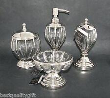4 PC SET HANDMADE INDIA MOUTH-BLOWN GLASS SOAP DISPENSER+DISH+TOOTHBRUSH+JAR,LID