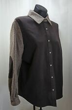 Talbots Brown Herringbone Elbow Patch Button-Front Lined Shirt Jacket - Size 14