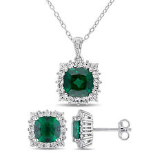 Amour Sterling Silver Created Emerald, Sapphire and Diamond Necklace & Earrings