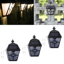 3 Pcs Solar Powered Garden Lights Warm White LED Fence Shed Wall Door Light