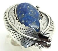 Navajo Design Oval Leaf Blue Lapis Sterling Silver 925 Ring 18g Sz8.25 SHQ878