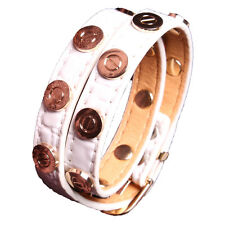 Croc Faux Leather Slake Bracelet Gold Plated Nail Screw Bangle White