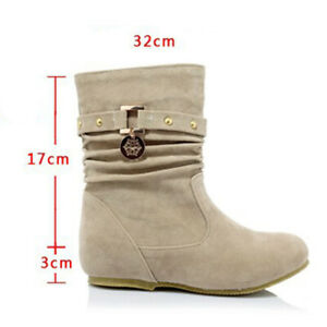 Lady Womens Suede Ankle Boots Flat Round Toe Slip On Shoes Pleated Combat Boot