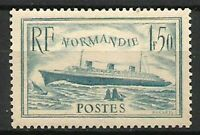 FRANCE N° 300 PAQUEBOT NORMANDIE Bleu Clair Neuf** Luxe. Cote 200€