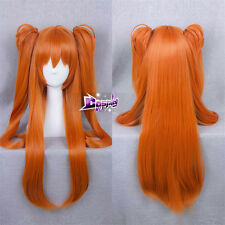 "Neon Genesis Evangelion EVA Soryu Asuka 32"" Long Orange Cosplay Anime Wig"