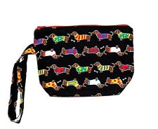Dachsund Wristlet, Small Cosmetic Bag, Gift Bag, Weiner Dog Items, AGIFT 119