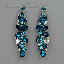 Rhodium Plated Aqua Blue Crystal Rhinestone Chandelier Drop Dangle Earrings 8576