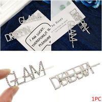 Women Fashion Crystal Hairpin Shiny Rhinestones GLAM DRIPPIN Letters Hair Clips-