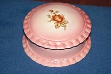 Vintage Porcelain Pink Trinket Treasure Jewelry Box Dish With Lid Gator Mold Co