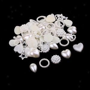 100pcs Faux Pearl Rhinestone Flat Back Buttons Wedding Embellishments Crafts