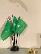 AFRICAN UNION TABLE FLAG SET of 3 flags and base