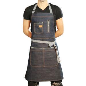 Pockets Denim Full Apron Chef Barista Workwear Painter Barber Workwear Unisex