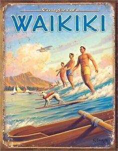 Surfside Waikiki Hawaii Erikson Surfing Art Metal Sign New Travel Poster Repro