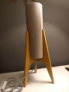 Mid Century Modern Astro Rocket Atomic 60s Table Lamp Light Grey Wood Debenhams