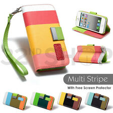 STRIPE STAND WALLET LEATHER CASE COVER FOR IPHONE 5 5S SE