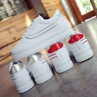 Womens Platform Lace Up Sport Sneakers High Hidden Heel Casual Shoes Korean New