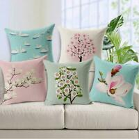 Cotton Pillow Flower Plant Cushion Throw Home Waist Cover Linen Case Sofa