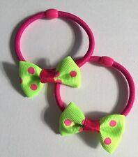2 Packs Of Green-pink Polkadot hair bow bobble
