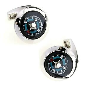 Mens Working Compass Cufflinks Silver Business Naval Army Gift Present UK