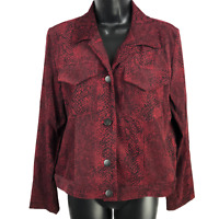David Paul Red & Black Snake Skin Print Button Front Jacket Women's Size Small