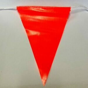 Orange Bunting Safety Flags 30M Triangle PVC Fabric on White Rope 45x45x5cm Flag