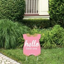Big Dot of Happiness Hello Little One - Pink and Gold - Outdoor Lawn Sign -.