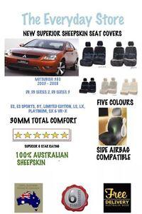 Mitsubishi 380 2005-2008 Premium Sheepskin Seat Cover Pair Airbag Safe 30MM