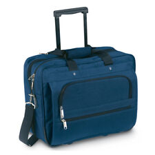 Black Executive Business Laptop Bag - Cabin Flight Trolley Wheeled Case Blue