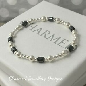 CHARMED silver beaded stacking bracelet with hematite beads ladies 925