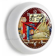RETRO VINTAGE LAUNDRY ROOM ROUND WALL CLOCK HOME DECOR NICE GIFT FOR WIFE FRIEND