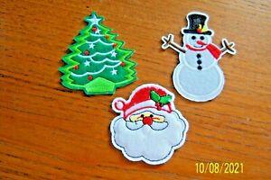 3 CHRISTMAS BADGES IRON ON OR SEW SANTA, SNOWMAN XMAS TREE CRAFT BRAND NEW BNWOT